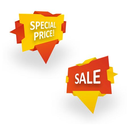 Origami banner wrapped in paper. Special Price Sale. Graphic concept for your design