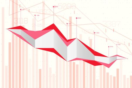 Abstract infographics visualization. Business chart graph with lines of lowering. Corona virus economic impact for business analytics. Graphic concept for your design