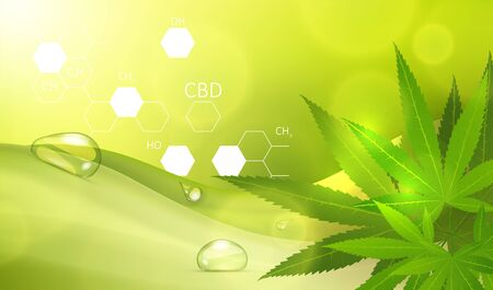 Medical marijuana concept. Recreational weed usage on green background. Graphic concept for your design