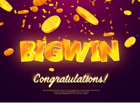 The gold word Big Win. Gold coins falling. Luck banner for gambling, casino, poker and roulette. Graphic concept for your design Ilustrace