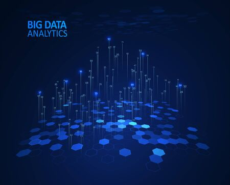 Abstract infographics visualization. Big data code representation. Futuristic network or business analytics. Graphic concept for your design. Vettoriali