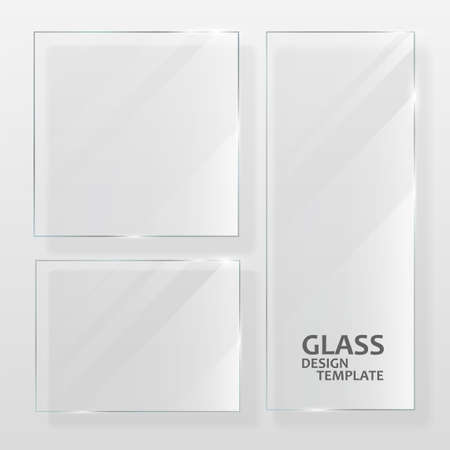 Glass plates set. Different shapes glass plates. Graphic concept for your design. Ilustração