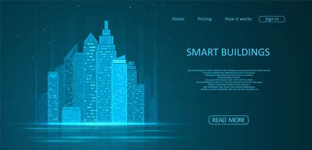 Smart building concept design for city illustration. Graphic concept for your design. Ilustrace