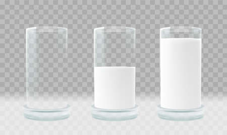 Empty and full Glass of milk. Illustration isolated on transparent background. Graphic concept for your design