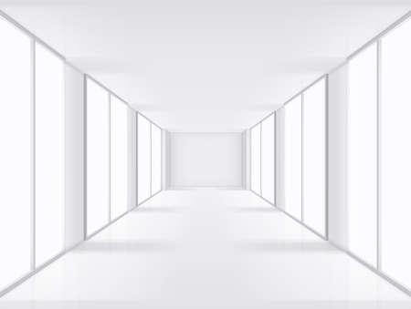 Empty interior with large windows. Graphic concept for your design Ilustração Vetorial