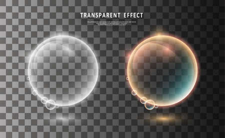 Colorful transparent bubbles. Illustration isolated on transparent background. Abstract magic illustration. Graphic concept for your design Vettoriali