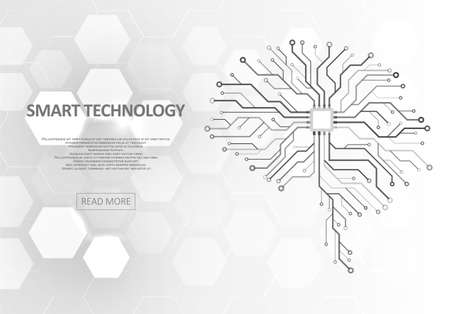 Technological brain and machine learning concept. Abstract circuit board. Digital innovation background