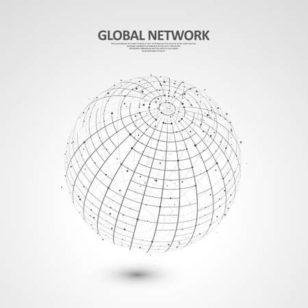 Abstract global technology background. Global network connection. Point and curve constructed the sphere wireframe. Digital innovation concept for your design.