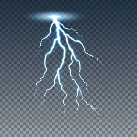 Realistic lightning and thunder bolt. Illustration isolated on transparent background. Graphic concept for your design