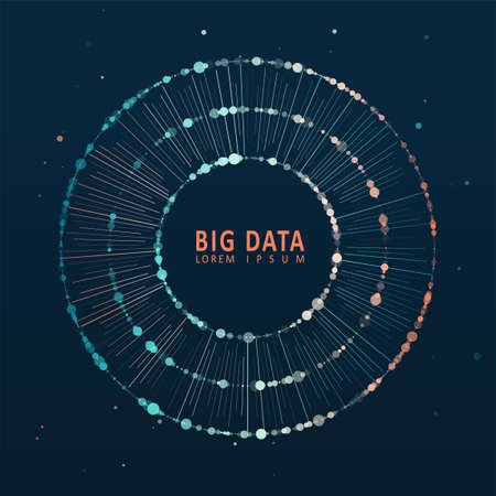 Abstract infographics visualization. Big data code representation. Futuristic network or business analytics. Graphic concept for your design Çizim