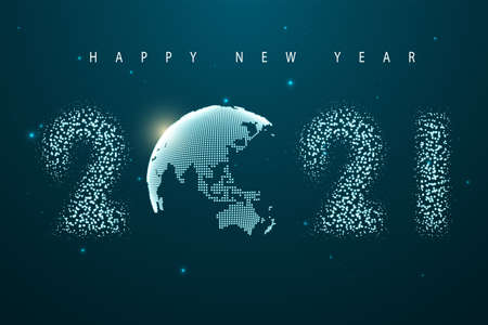 New Year celebration illustration. Glittering dust of lights. Dots constructed the sphere map of the world. Graphic concept for your design Çizim