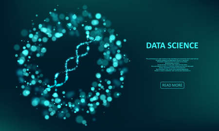 Big genomic data visualization. DNA test, genom map. Glittering dust of lights. Graphic concept for your design
