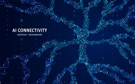Human neuron anatomy concept. Abstract polygonal space. Background with connecting dots and lines. Artificial neural network technology. Glittering dust of lights. Graphic concept for your design.