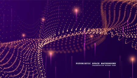 Particles liquid dynamic flow. Glittering dust of lights. Graphic concept for your design.
