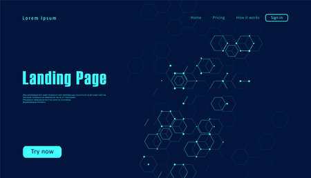 Landing page for a website about scientific life. Consisting of set of hexagonal cells. Graphic concept for your design Çizim
