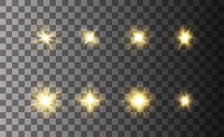 Glowing magical light effect on transparent background. Gold glowing neon glares. Graphic concept for your design