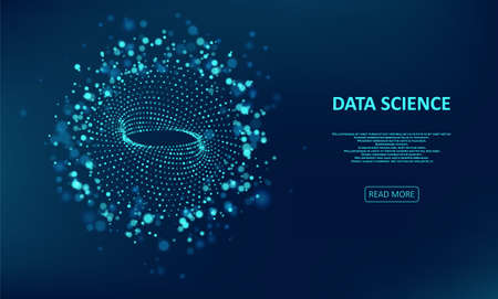 Abstract data transmission visualization. Big data code representation. Glittering dust of lights. Graphic concept for your design