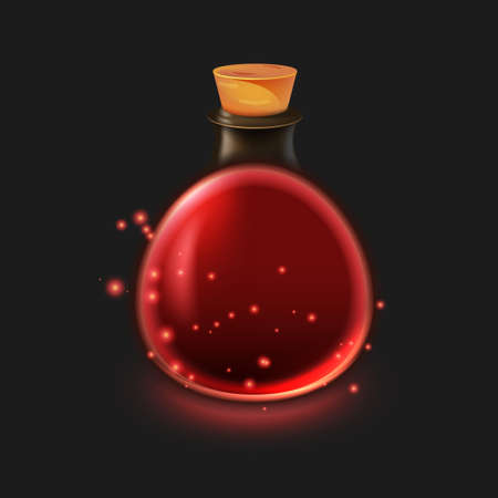 Magic bottle of potion. Illustration isolated on dark background. Graphic concept for your design