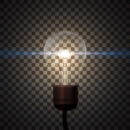 Realistic edison ligt bulb with shining light. Illustration isolated on transparent background. Graphic concept for your design