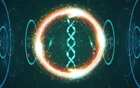 Big genomic data visualization. DNA test, genom map. Stream of encoded data. Graphic concept for your design Çizim