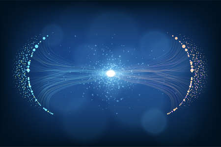Particles dynamic line flow. Glittering dust of lights. Data connection speed line. Futuristic network representation. Graphic concept for your design.