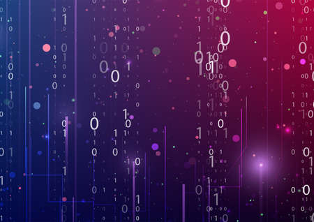 Abstract virtual digital stream. Flowing binary code. Storage cloud structure. Big data transfer concepts in internet. Graphic concept for your design.