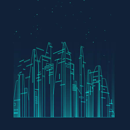 Future city skyline illustration. Graphic concept for your design, linear style. Banque d'images
