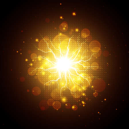 Golden glowing lights effects isolated on dark background, abstract magic energy Illustration