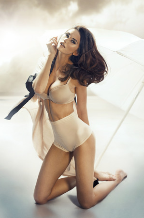 bare girl: Tepmting brunette lady wearing sexy lingerie Stock Photo