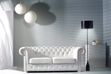 sofa bed: Modern interior with the new bright furniture Stock Photo