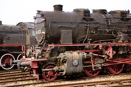 Two large and heavu antique locomotives photo