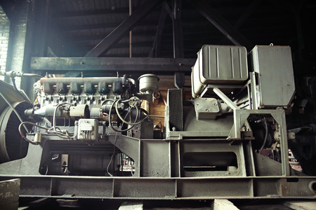 antique factory: Metal machine in the antique factory Stock Photo
