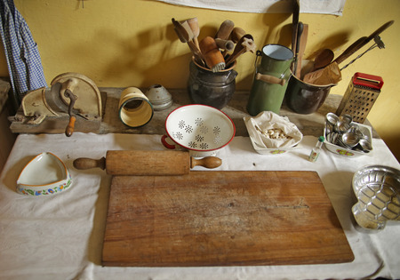 Picture of the cutlery in the antique kicthen photo