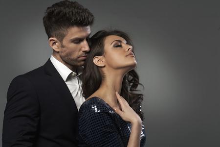 Close-up portrait of the smart couple