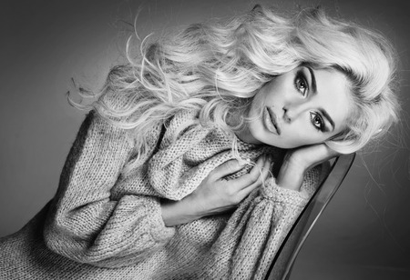 Black&white portrait of the blond attractive woman 写真素材