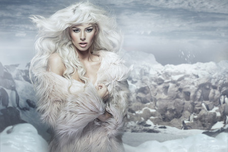 Snow queen on the penguins island Stock Photo