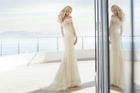 Charming bride on the luxury terrace