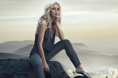 Fabulous blond woman on the tropical beach Standard-Bild