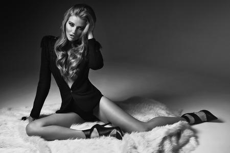 Black&white portrait of sexy woman photo