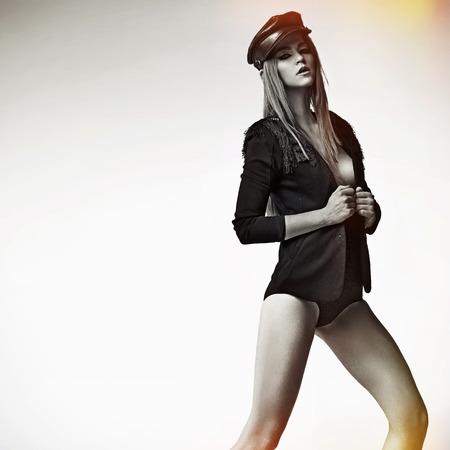 Tall, sensual lady wearing trendy beret
