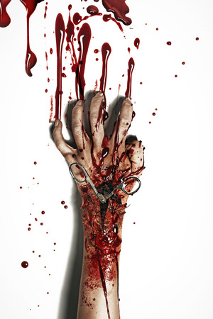 bloody hand print: Horror style picture of the bleeding hand