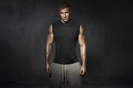 Tall, muscular guy during the training