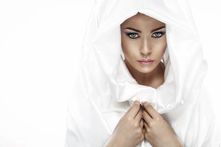 Fashion style photo of a lady with a headscarf 免版税图像