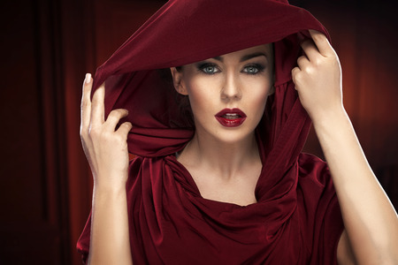 kerchief: Portrait of the lady in deep red