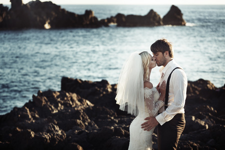 Romantic portrait of kissing the marriage couple Standard-Bild