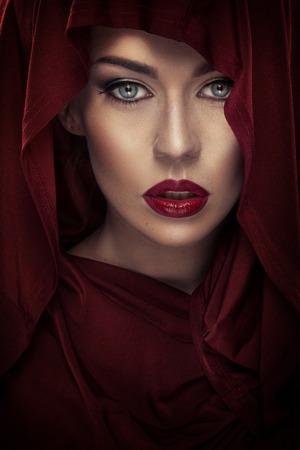 Closeup portrait of a lady wearing a headscarf