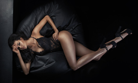 seductress: Portrait of the tanned brunette lady