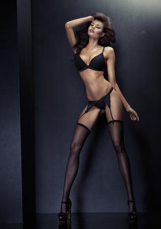 Fashion style photo of a tall sensual woman