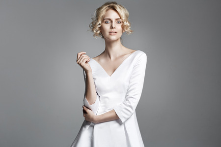 classy woman: Portrait of a delicate blond woman