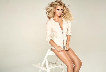 beautiful blonde: Portrait of a beautiful blond lady